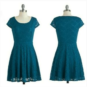 MODCLOTH teal lace fit & flare dress